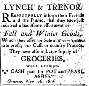 Lynch and Trenor: cash paid for pot and pearl ashes.