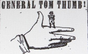 newspaper ad for an appearance by Tom Thumb