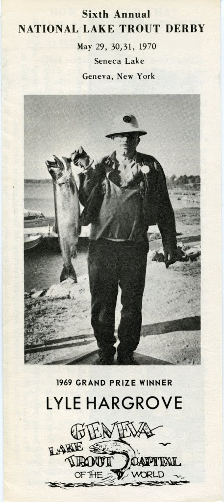 Picture of a man with a large fish on a brochure: Sixth Annual Lake Trout Derby, May 1970.