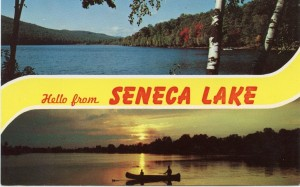 Postcard view of lake with the words Hello from Seneca Lake.