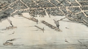 Colored engraving showing lakefront with sailboats and steamboats, one pulling barges, in the Geneva harbor. Also shows buildings along Exchange street, railroad tracks, and the canal.