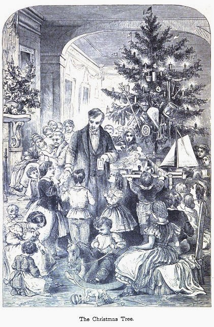 Illustration of a man giving a group of children presents, standing in front of a Christmas tree decorated with candles and toys.