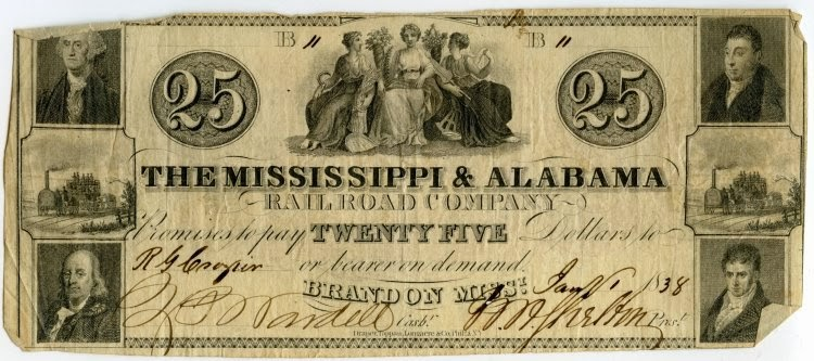 Bank note for the Mississippi and Alabama Railroad