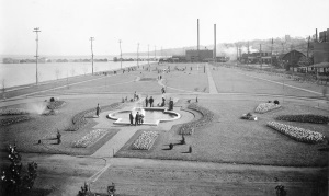 View of a park on the lakeshore, c. 1925