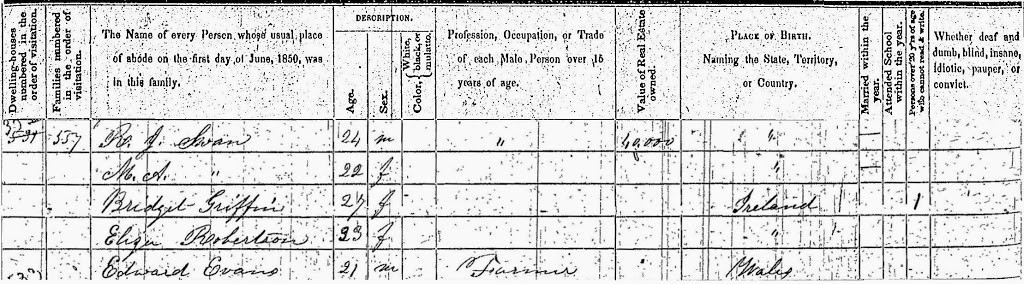 An 1850 census listing of all residents in RJ Swan household. Includes RJ (24), MA (22), Bridget Griffin (27, born in Ireland), Eliz. Robertson (23, born in Ireland) and Edward Evans (21, born in Wales).