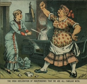 Drawing of a masculine looking woman shaking her fist at a delicate looking, well-dressed blond woman. They are standing in front of a cast iron stove with an over-boiling pot and burned pie in the over. A broken plate is on the floor.