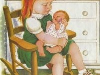 golden-book-illustration-of-a-little-girl-rocking-a-baby