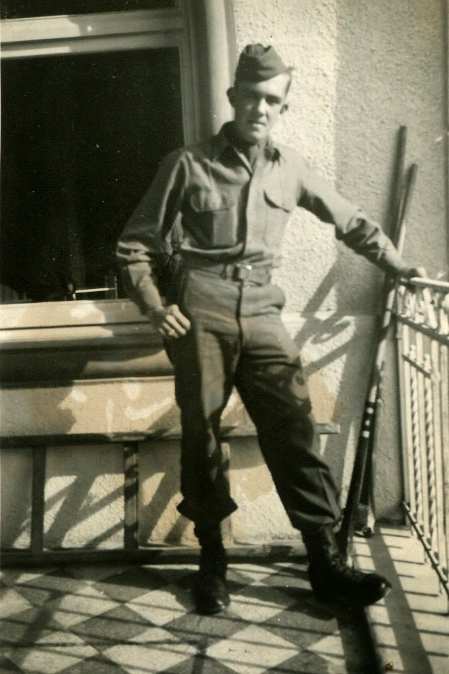 Charlie Marks on a hotel porch in Italy, 1946