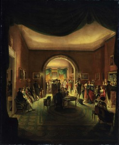Painting a party in a Victorian parlor