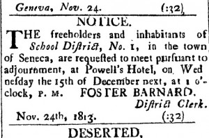 newspaper-notice-of-1813-meeting-of-Geneva's-school-district-No.1