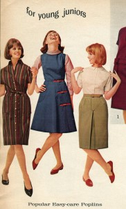 Image from a catalog of three young ladies. Two are wearing dress and one is wearing a skirt and blouse.
