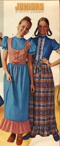 Image from a catalog of two young ladies wearing dresses.