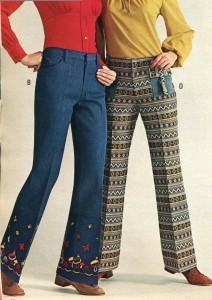 Image from a catalog of two young women wearing pants.