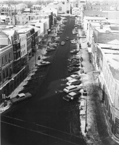 Photograph of Seneca Street before it was widened.