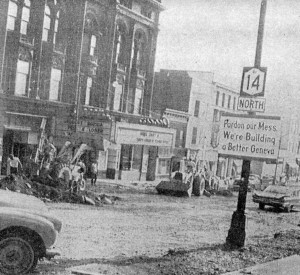 Image from the Finger Lakes Times of the area around the Smith Opera House during Urban Renewal