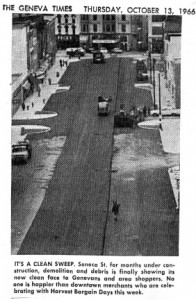 Image from the Finger Lakes Times of Seneca Street after it was widened.