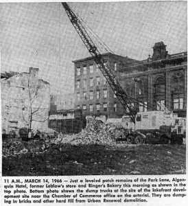 Image from the Finger Lakes Times of demolition along Seneca Street on March 14, 1966