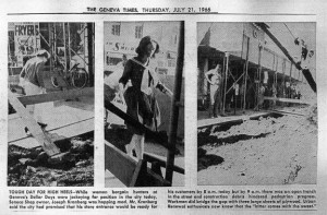 Images from the Finger Lakes Times of the hazards of shoppers in downtown Geneva during Urban Renewal