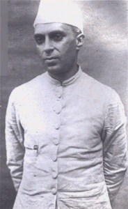 Black and white photograph of Jawaharlal Nehru