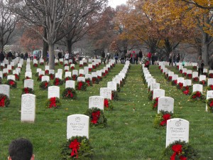 Colored images of wreaths at Arlington National Cemetery.