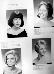 Page from the William Smith yearbook. Contains black and white formal photos of four William Smith students.