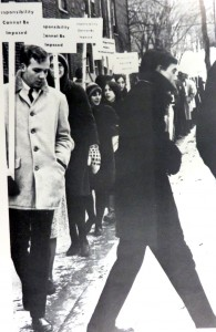 Black and white image of a Hobart and William Smith Colleges student protect from the 1966 yearbook