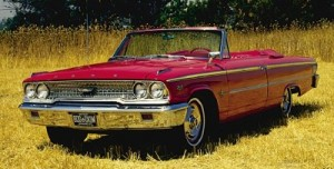 Colored image of a red 1962-1964 Ford Galaxie 500