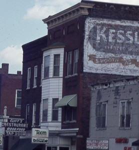 Colored photo of Exchange Street from 1974
