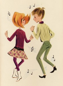 1960s greeting card cover of a boy and girl dancing
