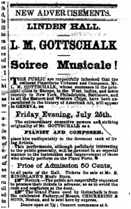 Ad from the Geneva Gazette (July 19 1862) about a performance by L.M. Gottschalk at Linden Hall.