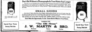 Part of 1921 ad for J.W. Martin and Bro. from Geneva Daily Times