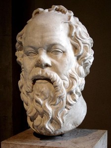 Colored image of a bust of Socrates