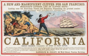 Colored advertisement for clipper ships to San Francisco. Dates to the California Gold Rush