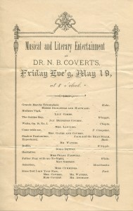 Undated program, probably late 1800s.Program for Musical and Literary Entertainment at Dr. N.B. Coverrt's.  Undated, probably late 1800s
