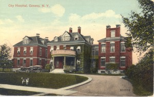 Postcard of the original Geneva Hospital