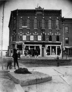 Black and white photo of the Dove Block, ca. 1870s