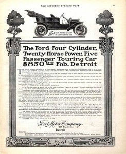 Black and white, full page advertisement for the Ford Model T