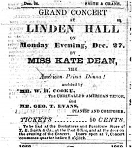 Ad from the Geneva Gazette (Dec. 1858) about a performance by Kate Dean at Linden Hall