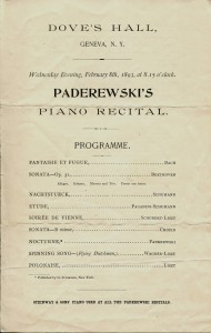 Program from a performance by  Paderewski at Dove Hall in 1893