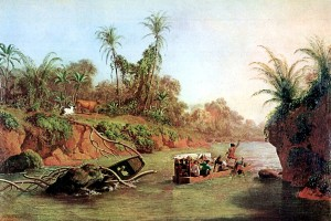Painting of a barge going up a river.