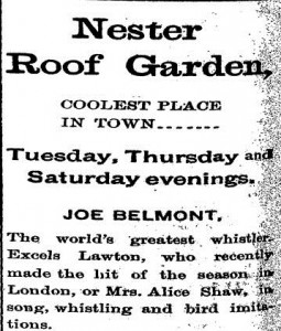 Newspaper clipping about the Nester Roof Garden