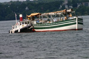 Colored photo of two boats on Seneca Lake
