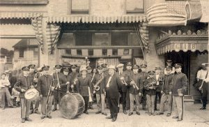 Sepia photograph of a brass band