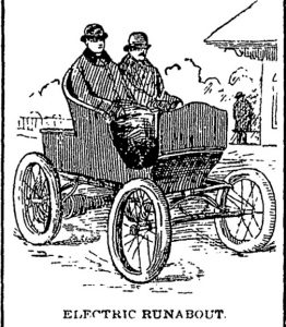 Pen and ink sketch of two men in an early automobile.