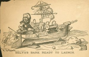 Sketch of a woman steering a boat