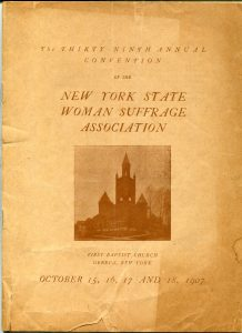program cover to the New York State Woman Suffrage Association's 1907 convention