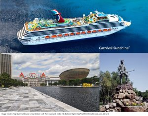 collage-image-of-carnival-sunshine-ship-empire-state-plaza-reflecting-pool-and-lexington-minuteman-statue