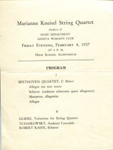 program for the Marianne Kneisel String Quartet