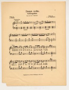 "sheet music for the Yiddish song, ""Damen Rechte (Suffregettes)."""
