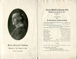 Geneva Political Equlaity Club's memorial program for Susan B. Anthony